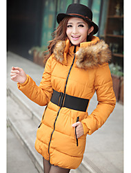 Women's Fur Collar Clip Cotton Coat With Belt