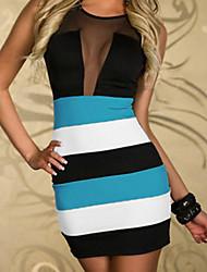 cuello redondo de las mujeres con malla mini vestido, poliéster azul bodycon / imprimir