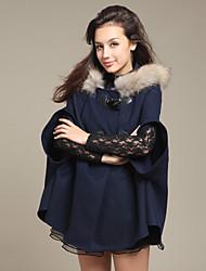 Fashion Queen-Fashion Genuine Fellkragen Tweed Cape Coat