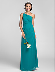 Floor-length Chiffon Bridesmaid Dress - Jade Plus Sizes / Petite Sheath/Column One Shoulder
