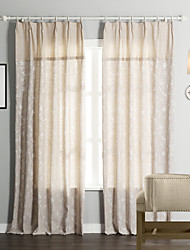 (Two Panels)  Traditional Floral Linen/Cotton Jacquard Eco-friendly Curtain