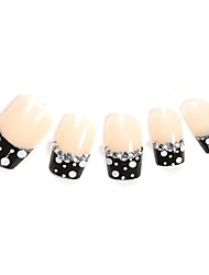 YeManNvYou®24PCS White Dots Rhinestone Full Cover Nail Tips