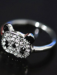 Women's Korean Shiny Red Panda Full Diamond RingImitation Diamond Birthstone