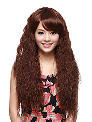 Capless High Quality Synthetic Long Curly Brown Fluffy Hair Wigs