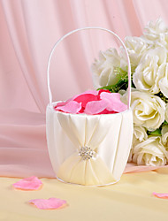 Flower Basket In Ivory Satin With Rhinestones And Sash