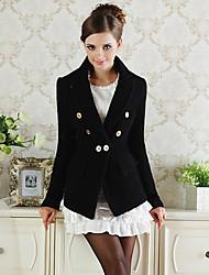 Negro V cuello doble de pecho abrigo de tweed de la mujer Fan