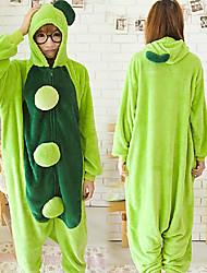 Детские горох ЗЕЛЕНЫЙ фланели Kigurumi пижамы