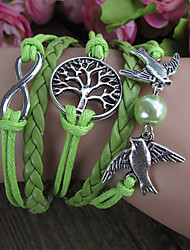 Palomas Retro Tree 8-Word Pulsera de múltiples capas