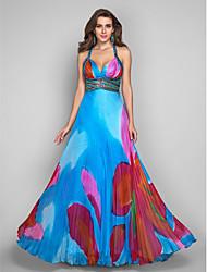 Bainha cintas assoalho-comprimento chiffon de impressão graça vestido de noite / baile de finalistas