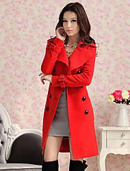 KICAI Zweireiher Wolle Tweed-Mantel mit Gürtel
