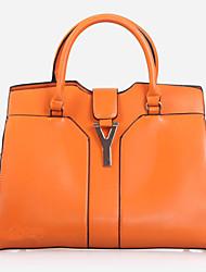 Lady Fashion PU Leather Tote(Orange)