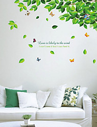 Botanical Leaves and Butterflies Wall Stickers
