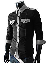 Men's Long Sleeve Shirt , Cotton Blend Casual