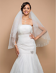 Wedding Veil Two-tier Fingertip Veils Beaded Edge 27.56 in (70cm) Tulle White White / IvoryA-line, Ball Gown, Princess, Sheath/ Column,