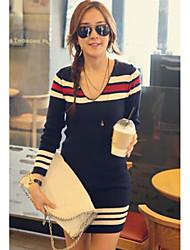 Frauen mit V-Ausschnitt Schlank Würzen Stripe Sweater