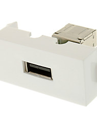 Keystone Jack USB 3.0 una hembra a una hembra adaptador de acoplamiento Flush Tipo de vino Blanco