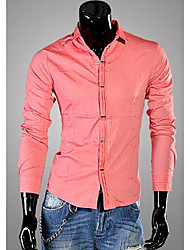 Men'S Casual Pure Color Long Sleeve Shirt