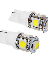2 Pcs T10 1.5W 5x5050SMD 100-120LM 6000K Cool White LED Light Bulb (12V)