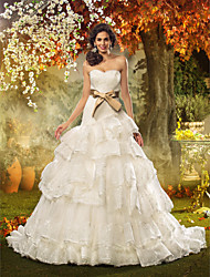 Lan Ting Fit & Flare Plus Sizes Wedding Dress - Ivory Court Train Strapless Lace/Organza