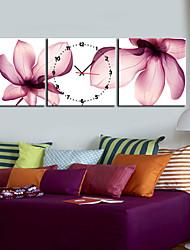 "12 ""-24"" Country Style Pink Flower Orologio da parete in tela 3pcs"