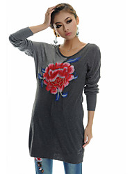 TS Ethnic Chinese Style Classic Floral Embroidery Contrast Color Long Sweater Tops