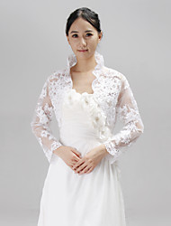 Wedding  Wraps Coats/Jackets Long Sleeve Lace Wedding Appliques / Rhinestone Hidden Clasp