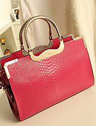 MIQIANLIN Fashion High Quality Simulated Leather Tote(Fuchsia)