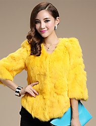 3/4 Sleeve Collarless Fox Fur Party/Casual Jacket(More Colors)