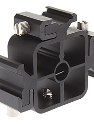 "1/4 ""de parafuso do tripé de 3-Hot Shoe Adapter Suporte - Preto"