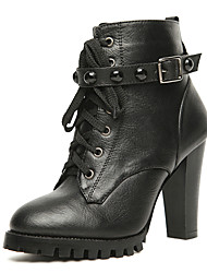 Faux Leather Chunky Heel Combat Ankle Motorcycle Boots