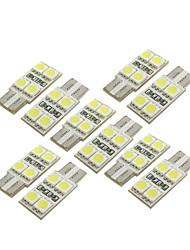 10 pièces t10 W5W 194 168 4 leds ampoule de voiture 5050 SMD éclairage intérieur blanc