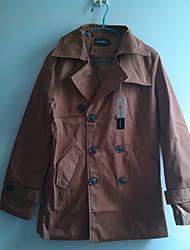 MIDOO Men's Khaki Dacron Medium Style Lapel Neck Coat