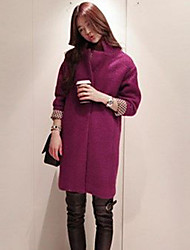 Frauen Standplatz Ausschnitt Cute Wolle Solid Color Langarm Outwear