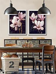 Pink Orchid Floral encadrée toile Lot de 2