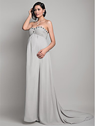 Formal Evening Dress - Silver Maternity Sheath/Column Sweetheart/Strapless Sweep/Brush Train Chiffon