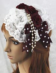 Handmade Wine Red Rose Weiße Spitze Sweet Lolita Headpiece mit Perlen