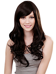 Capless Long Body Curly Black Synthetic Wig Side Bang