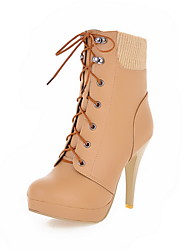 Faux Leather Stiletto Heel  &  Platform Lace-Up Booties/Ankle Boots Party Shoes(More Colors)