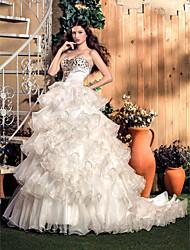 A-line/Princess Wedding Dress - Ivory Sweep/Brush Train Sweetheart Organza/Satin