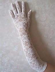Elbow Length Fingertips Glove Lace Bridal Gloves / Party/ Evening Gloves Spring / Summer / Fall / Winter White