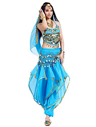 Belly Dance Outfits Women's Performance Chiffon Beading / Coins / Sequins 4 PiecesBlack / Blue / Fuchsia / Orange / Pink / Purple / Red /