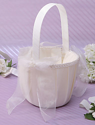 Chic Flower Basket In Ivory Satin Flower Girl Basket