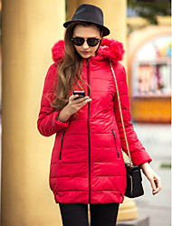 TS Fur Collar Slim Long Hoodied Down Jacket