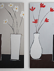 Hand Painted Oil Painting Still Life Vase and Flower with Stretched Frame Set of 2 1310-ST1059