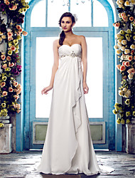 Lan Ting A-line Plus Sizes Wedding Dress - Ivory Sweep/Brush Train Sweetheart Chiffon