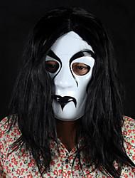 Schwarzes Haar, weißes Gesicht Halloween Maske Teufel