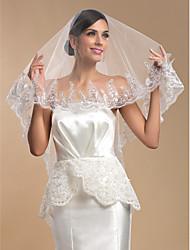 One-tier Fingertip Wedding Veil With Applique Edge