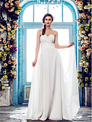 Lanting Bride® A-line Petite / Plus Sizes Wedding Dress - Classic & Timeless / Elegant & Luxurious Sweep / Brush Train Sweetheart Chiffon