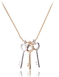 Three Pieces of Little Keys Pendant Necklace