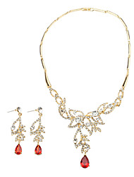 Elegant Crystal Leaf Necklace & Earrings Jewelry Set